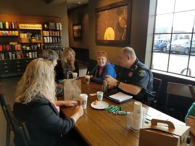 Burien residents and police at Starbucks